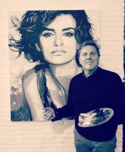 Penelope Cruz portretschilderij van Peter Engels