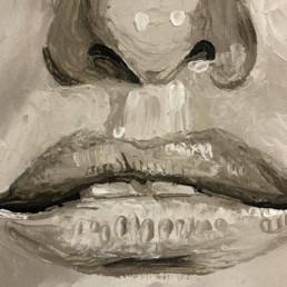 Detail van het Penelope Cruz portretschilderij van Peter Engels