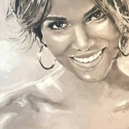 Detail of the Halle Berry portrait painting by Peter Engels