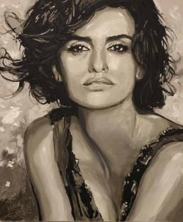 Penelope Cruz portrait painting by Peter Engels