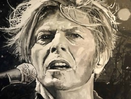 Detail of the David Bowie portrait painting by Peter Engels