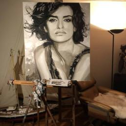Penelope Cruz portretschilderij - Peter Engels