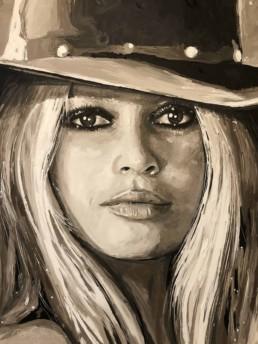 Detail van het Portretschilderij Brigitte Bardot door kunstchilder Peter Engels