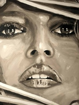 Detail of the Brigitte Bardot Behind Shutters portrait painting by Peter Engels