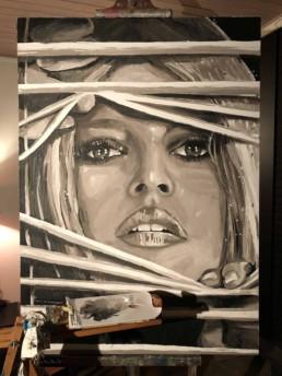 Brigitte Bardot Behind Shutters portrait painting by Peter Engels