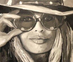Brigitte Bardot with sunglasses, by Peter Engels, 100x140cm, painted with the pallet knife