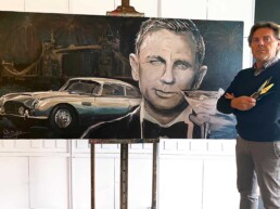 Daniel Craig with Aston Martin DB5 portrait painting by Peter Engels