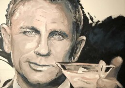 Artwork in progress. Detail of Daniel Craig with Aston Martin DB5 portrait painting by Peter Engels