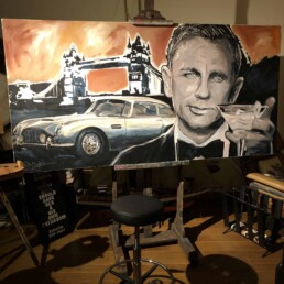 Artwork in progress. For a sense of warmth in the fireworks lit sky Peter Engels paints it sienna and umber. Daniel Craig with Aston Martin DB5 portrait painting by Peter Engels