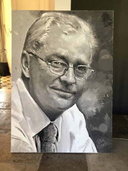 Portrait painting of Marc Van Beek, 140 x 100cm, painted with the pallet knife on Brussels cotton
