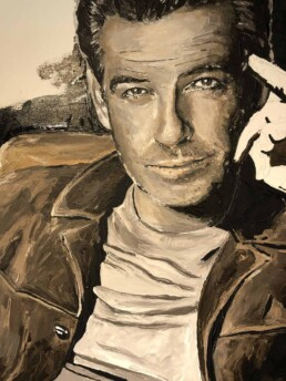 Detail of the Pierce Brosnan with Aston Martin DB5 portrait painting by Peter Engels