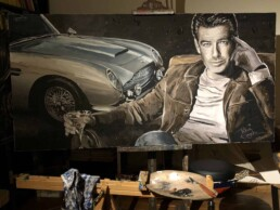 Pierce Brosnan with Aston Martin DB5 portrait painting by Peter Engels