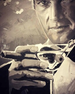 Roger Moore with martini and cigar portrait painting by Peter Engels