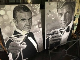 Sean Connery and Roger Moore with martini portrait painting by Peter Engels