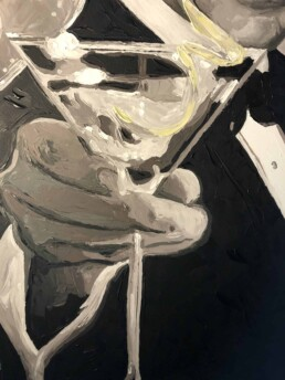 Detail of Sean Connery with martini portrait painting by Peter Engels