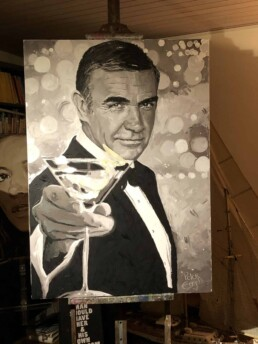 Sean Connery with martini portrait painting by Peter Engels