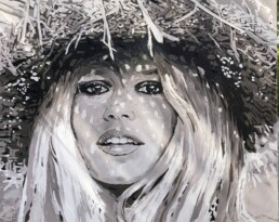 Brigitte Bardot chapeau de paille cheveux long-painting by Peter Engels