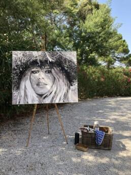 Brigitte Bardot chapeau de paille cheveux long-painting by Peter Engels