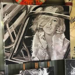 Brigitte Bardot sitting in car-painting by Peter Engels