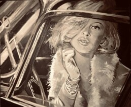 Brigitte Bardot sitting in car-painting by Peter Engels