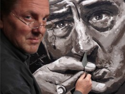 Robert de Niro portrait by Peter Engels, painting with the pallet knife