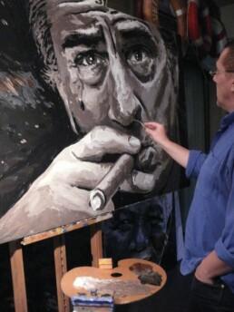 Peter Engels working on the Robert de Niro painting