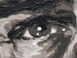 Detail of the Robert de Niro painting by Peter Engels