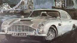 Aston Martin DB5 Daniel Craig James Bond portrait painting by Peter Engels artist