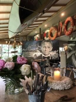 James Bond actor Daniel Craig portrait painting by Peter Engels artist in his boathouse atelier