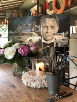 007 Daniel Craig portrait painting by Peter Engels artist in his boathouse studio