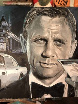 Detail of the Daniel Craig painting