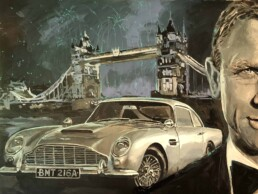 James Bond Aston Martin DB5-detail-painting by Peter Engels