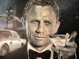 Detail of the Daniel Craig James Bond portrait painting by Peter Engels