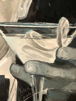 Martini shaken not stirred painting by Peter Engels