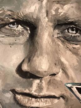 Close up of the Daniel Craig James Bond portrait painting by Peter Engels artist