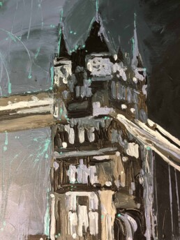 London Tower Bridge as a detail of the Daniel Craig portrait painting by Peter Engels artist
