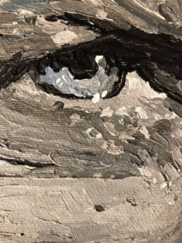 Eye of Daniel Craig as a detail in the portrait painted by Peter Engels