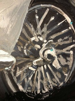 Aston Martin DB5 wire wheel in the Daniel Craig portrait painting by Peter Engels