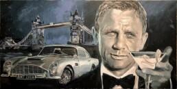 James Bond actor Daniel Craig portrait painting by Peter Engels artist